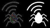 Glossy Mesh Radio Bug Icon With Sparkle Effect. Abstract Illuminated Model Of Radio Bug. Shiny Wire  poster