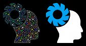 Flare Mesh Brain Wheel Icon With Sparkle Effect. Abstract Illuminated Model Of Brain Wheel. Shiny Wi poster
