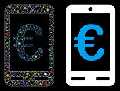 Glossy Mesh Euro Mobile Bank Icon With Glow Effect. Abstract Illuminated Model Of Euro Mobile Bank.  poster