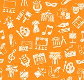 Culture And Art, Seamless Pattern, Shading, Pencil, Orange, Vector. Leisure And Cultural Activities. poster