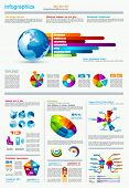 Dark Infographics page with a lot of design elements like chart, globe, icons, graphics, maps, cakes
