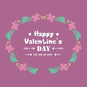 Elegant Frame With Leaf And Flower, Isolated On A Magenta Background, For Happy Valentine Poster Des poster