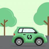 Electric Car Flat, Electric Car Design, Electric Car Vector, Electric Car Illustration, Electric Car poster