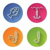 Set Line Fish, Fishing Hook Under Water, Fishing Hook And Worm And Fishing Hook. Color Circle Button poster