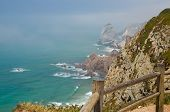 Portugal, Cabo Da Roca, The Western Cape Roca Of Europe, Wooden Railing Around The Lighthouse, Ocean poster
