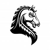 Heraldic Horse Vector Icon. Royal Heraldry Horse Symbol Of Gothic Medieval Pegasus Stallion poster