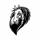 Horse Or Mustang Animal Isolated Icon, Tribal Tattoo And Equestrian Sport Mascot Design. Black And W poster