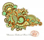 stock photo of indium  - Hand drawn line art ornate flower design - JPG