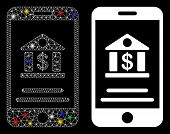 Glossy Mesh Mobile Banking Icon With Lightspot Effect. Abstract Illuminated Model Of Mobile Banking. poster