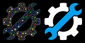Bright Mesh Service Tools Icon With Sparkle Effect. Abstract Illuminated Model Of Service Tools. Shi poster