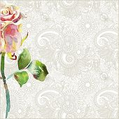 Ornate Floral Pattern With Pink Watercolor Rose