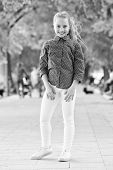 Go Healthy And Happy. Healthy Little Child Smiling In Summer Park. Happy Small Girl Enjoy Healthy Gr poster