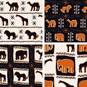 Set of Africa-themed seamless patterns