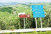 signposts near Barolo, Piedmont, Italy