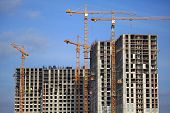 High-rise Construction Cranes And Array Of Buildings Under Construction On The Blue Sky Background.  poster