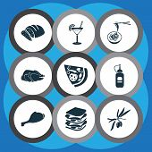 Meal Icons Set With Olive Branch, Turkey Bird, Chicken Leg And Other Roasted Elements. Isolated Illu poster