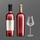 Wine Glass Bottles With Red Liquid And Empty Drinking Glass Realistic Vector Illustration. Clear Win poster