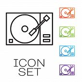 Black Line Vinyl Player With A Vinyl Disk Icon Isolated On White Background. Set Icons Colorful. Vec poster