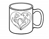Mug Coloring With A Picture - Two Snowdrops With Leaves In The Heart. A Heart Painted On A Cup With  poster