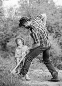 Rich Natural Soil. Eco Farm. Ranch. New Life. Soils And Fertilizers. Small Boy Child Help Father In  poster