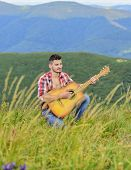Acoustic Music. Man With Guitar On Top Of Mountain. Summer Music Festival Outdoors. Playing Music. S poster