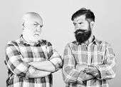 Father And Son. Hairdresser Salon. Barbershop Concept. Men Bearded Hipster Barber. Brutality And Mas poster