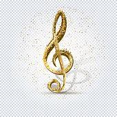 Gold Treble Clef. Luxury Shiny Little Random Stellar Falling On Transparent Background. Gold Treble  poster