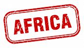 Africa Stamp. Africa Red Grunge Isolated Sign poster