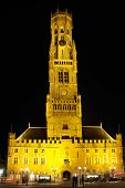 Bruges Belfry At Night