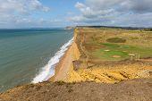Freshwater Beach Dorset Jurassic View Towards West Bay And Golden Cap poster