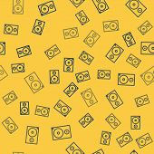 Blue Line Stereo Speaker Icon Isolated Seamless Pattern On Yellow Background. Sound System Speakers. poster