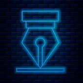 Glowing Neon Line Fountain Pen Nib Icon Isolated On Brick Wall Background. Pen Tool Sign. Vector Ill poster