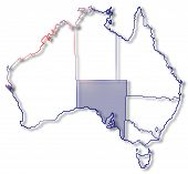 foto of australie  - Political map of Australia with the several states where South Australie is highlighted - JPG