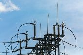 High Voltage Electrical Substation Tower Top, Close Up, Open Electrical Isolator For Electrical Isol poster