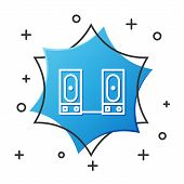 White Line Stereo Speaker Icon Isolated On White Background. Sound System Speakers. Music Icon. Musi poster
