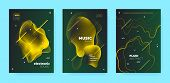 Gradient Flow Shapes. Night Club Party Flyer. Luxury Music Brochure. Dj Poster. Gold 3d Movement Ban poster