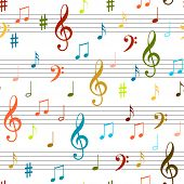 Seamless Flying Musical Notes On White. Musical Symbols For Banner Of Festival, Print Design, Melody poster