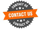 Contact Us Sign. Contact Us Orange-black Circular Band Label poster