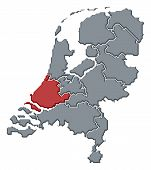 Map Of Netherlands, South Holland Highlighted