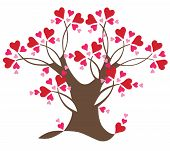 Two-colored decorative tree with hearts