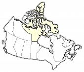 Map Of Canada, Nunavut Highlighted