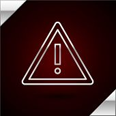 Silver Line Exclamation Mark In Triangle Icon Isolated On Dark Red Background. Hazard Warning Sign,  poster