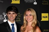 LOS ANGELES - JUN 23:  Max Ehrich, Lindsay Bushman arrives at the 2012 Daytime Emmy Awards at Beverl