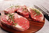 Variety Steak Raw. Barbecue Rib Eye Steak, Dry Aged Wagyu Entrecote Steak. poster