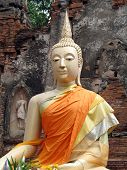 Buddha Dressed In Orange Robes