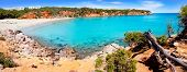 Cala Llenya in Ibiza panoramic of turquoise water in Balearic islands