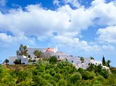 Ibiza Santa Eulalia des Riu with houses typical town in Balearic islands