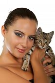 Pretty Woman Hold Her Lovely  Cat