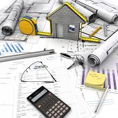 A house under construction on top of a table with mortgage application form, calculator, blueprints,