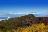 La Palma Roque de Muchachos ORM observatory with sea of clouds Canary Island